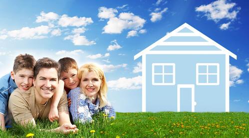 family with cartoon house