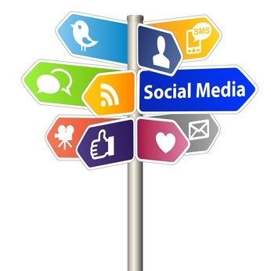 social media direction sign
