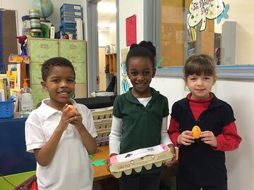 K5 students with Resurrection Eggs