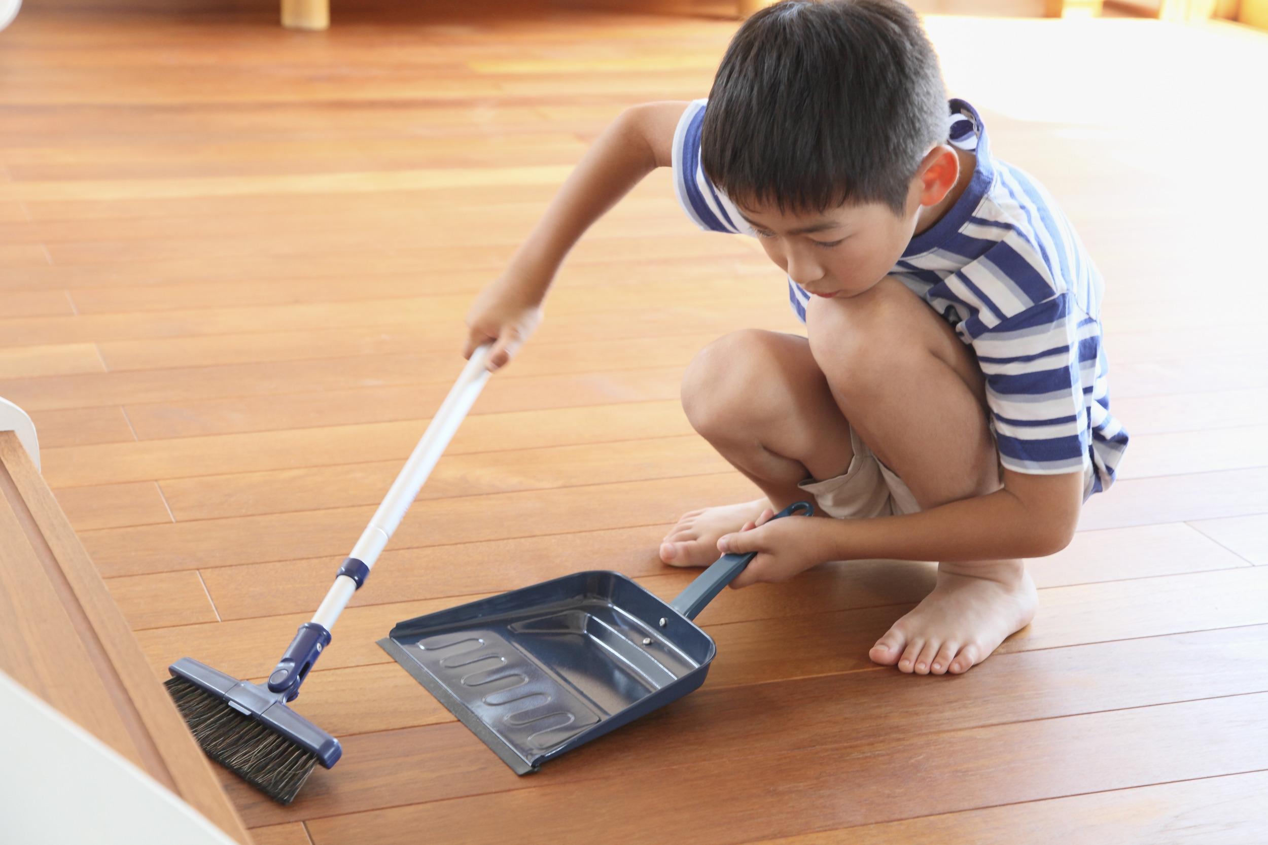 boy with dustpan