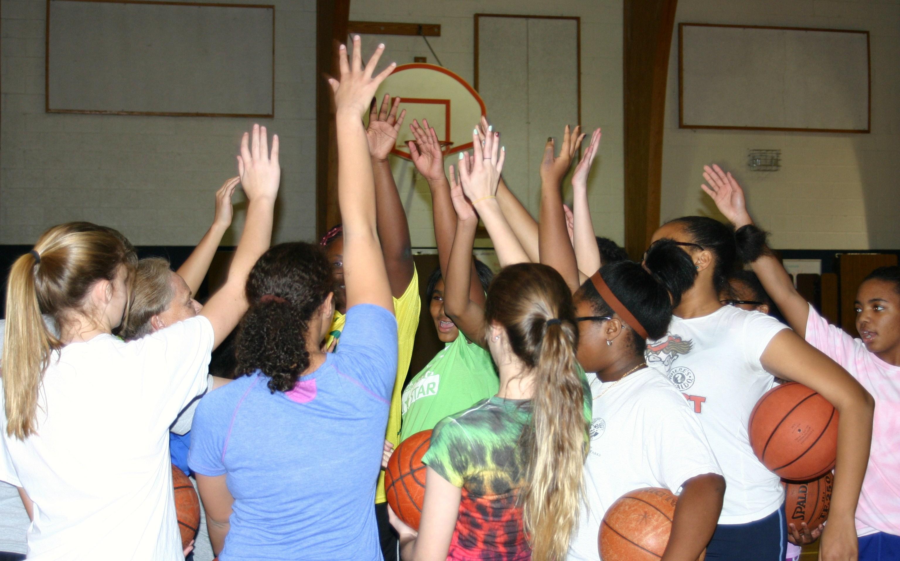 Mrs Trumbo with girls_basketball_team